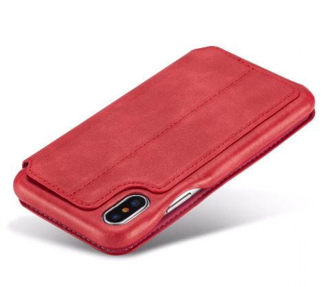 Flip Stand Leather Wallet Case Red Back