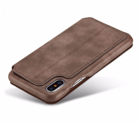 Flip Stand Leather Wallet Case Dark Brown Back