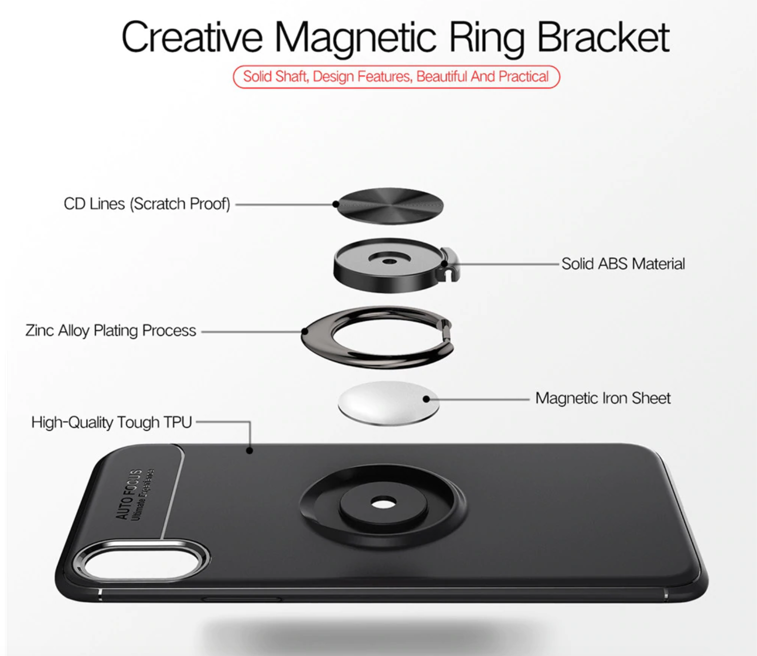 Soft Silicone Magnetic Ring Case Design