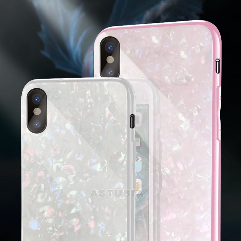 Pink and White Tempered Glass Case