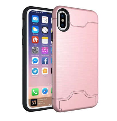 Armor Shockproof Card Slot Case Pink