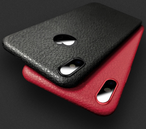 Ultra Thin Soft Leather Case Red and Black