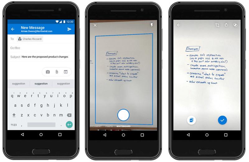Document scanning is inbuilt in the Outlook app