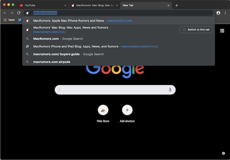 Google Chrome Dark Mode on macOS