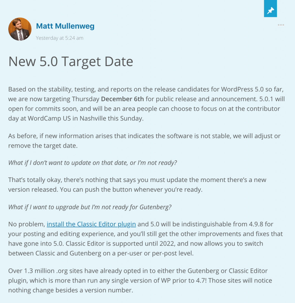 WordPress 5.0 Release Date Announcement by Matt Mullenweg