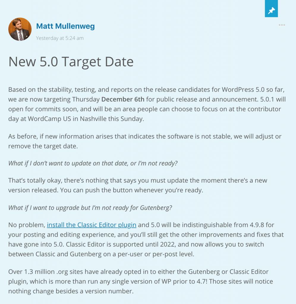 WordPress 5.0 Release Date Announcement by Matt Mullenweg