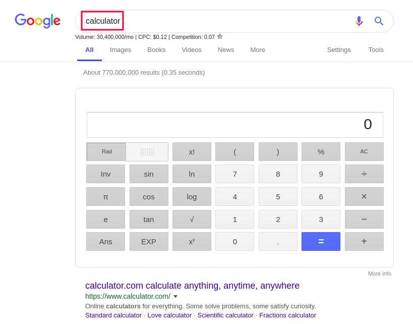 Google Search Secrets Calculator