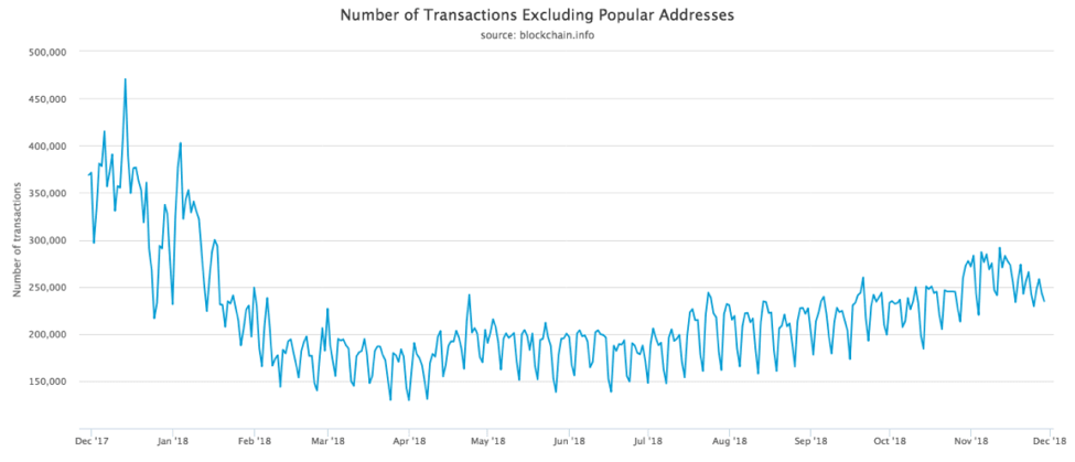 number of transactions per day excluding the popular addresses