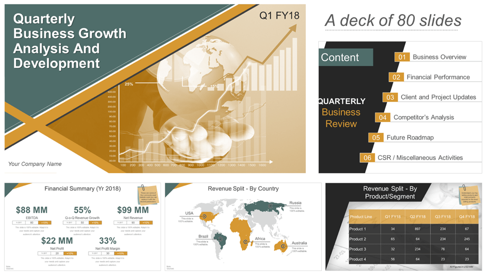 Download Quarterly Business Growth & Analysis PPT Templates
