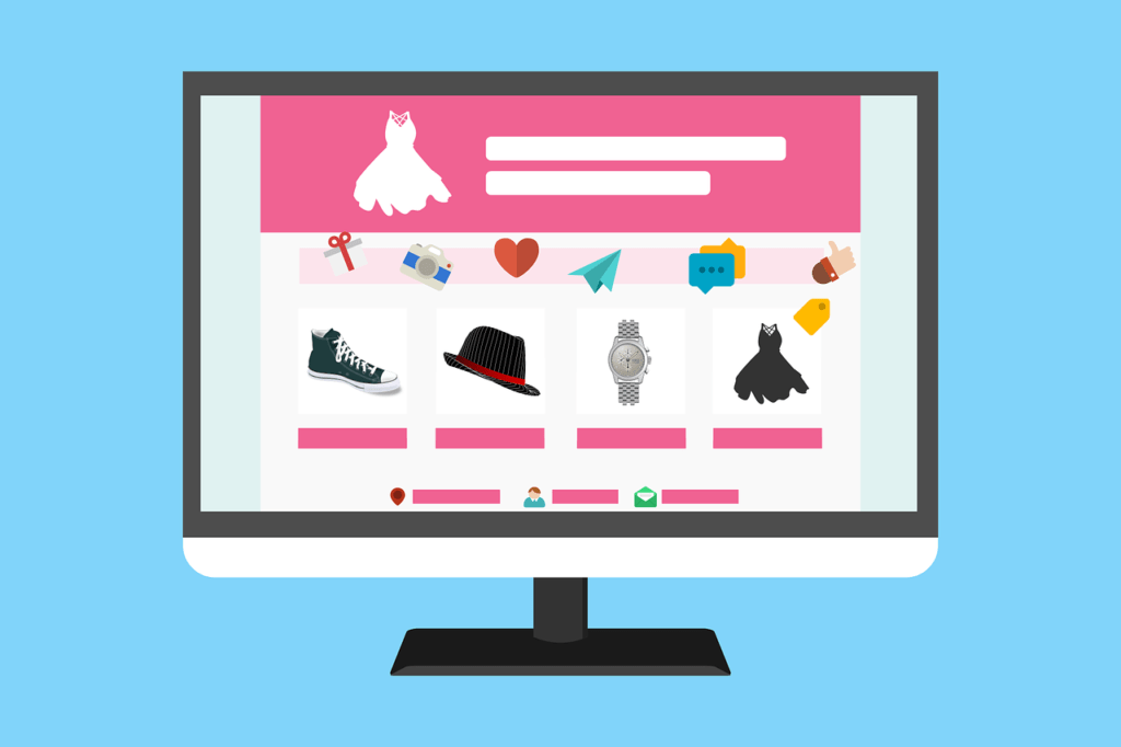 A computer screen with an eCommerce fashion website on it