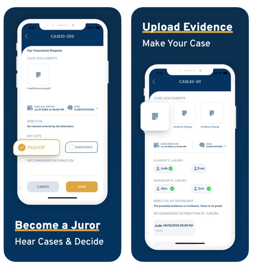 Jury App evidence upload