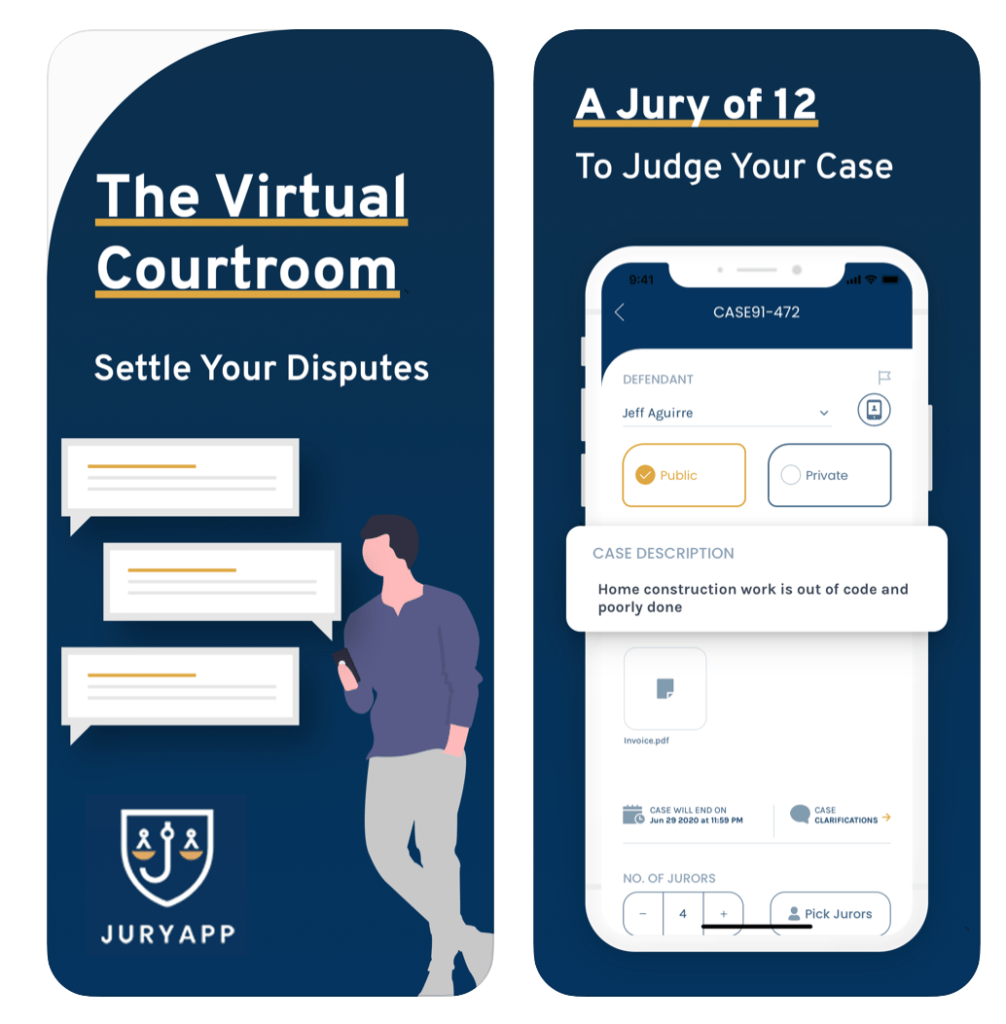 Jury App virtual courtroom